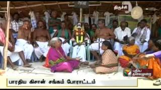 Farmers belonging to the Bharathiya Kisan Sangh continue their fasting protest for the 11th day