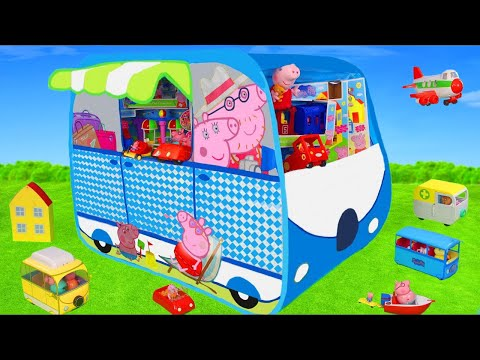 Peppa Pig Unboxing: Camper Play Tent Surprise, Toy Vehicles, George, Ambulance & Toys for Kids