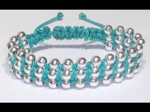 macramè - bracciale con file di perle