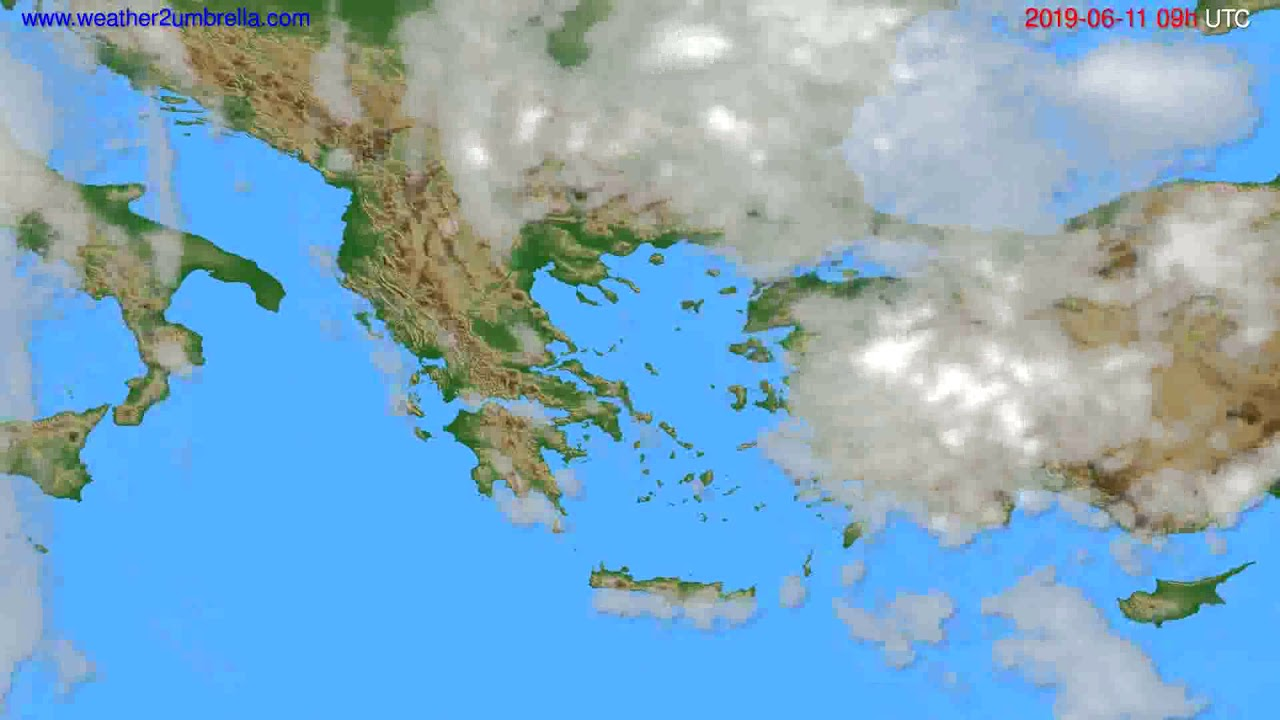 Cloud forecast Greece // modelrun: 12h UTC 2019-06-09