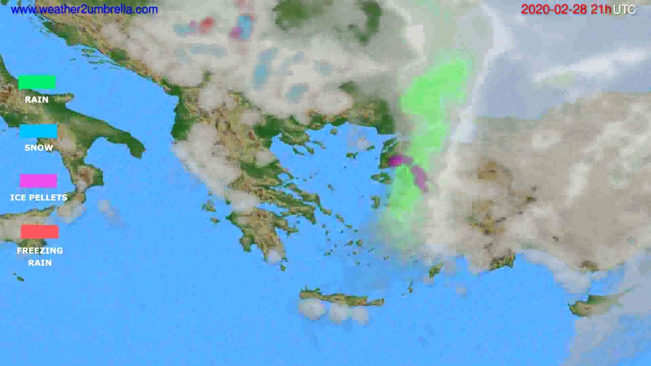Precipitation forecast Greece // modelrun: 12h UTC 2020-02-27