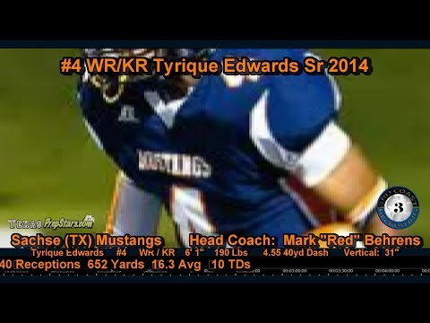 Tyrique - 3rd Coast Recruiting - #4 WR-KR - Tyrique Edwards - 2013 Season Highlights Tyrique Edwards, Sr 2014, Sachse Mustangs, is the true definition of a PLAYMAKER. ...
