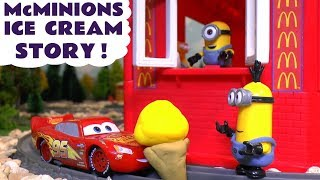 Minions McDonald's Drive Thru Ice Cream Prank with Cars McQueen & Thomas Toy Train Learn Colors TT4U