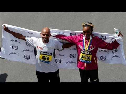 boston - At the 118th Boston Marathon, Meb Keflezighi became the first American male to win since 1983. Rita Jeptoo of Kenya defended her 2013 title by winning the wo...