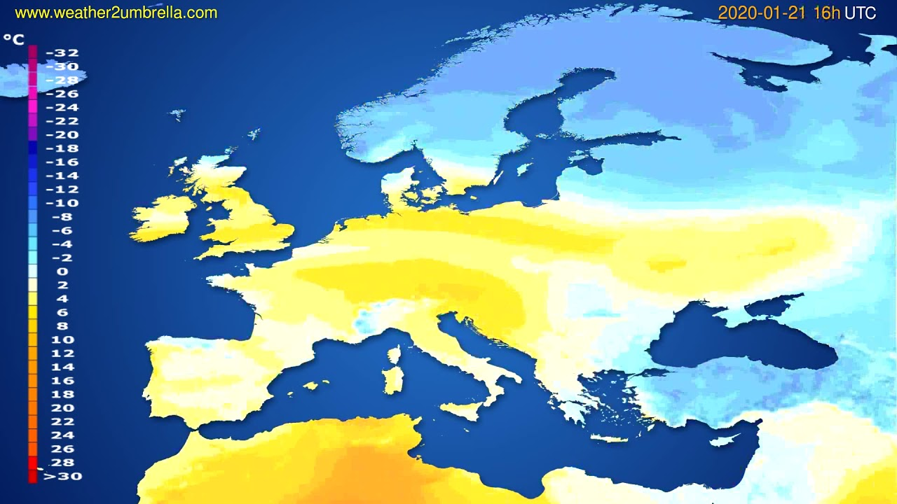 Temperature forecast Europe // modelrun: 12h UTC 2020-01-20