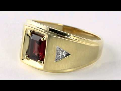 Men's Garnet 10k Gold Ring