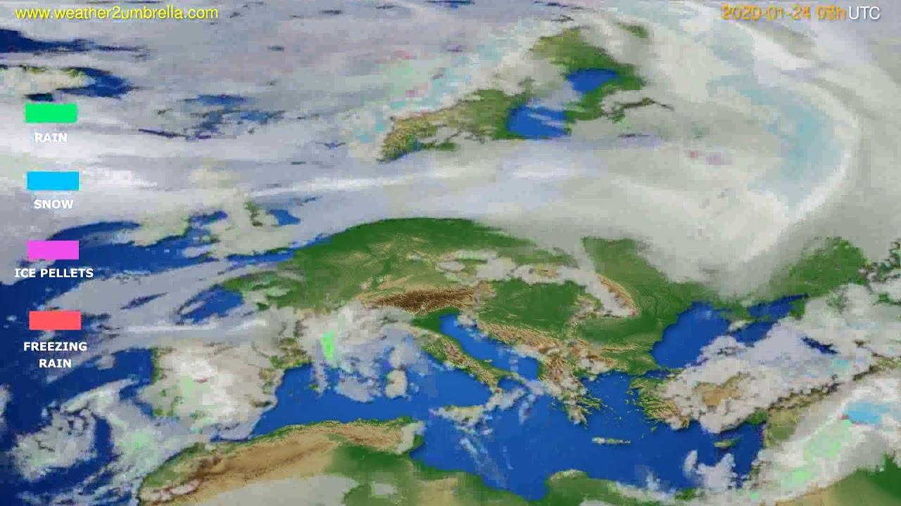 Precipitation forecast Europe // modelrun: 12h UTC 2020-01-23