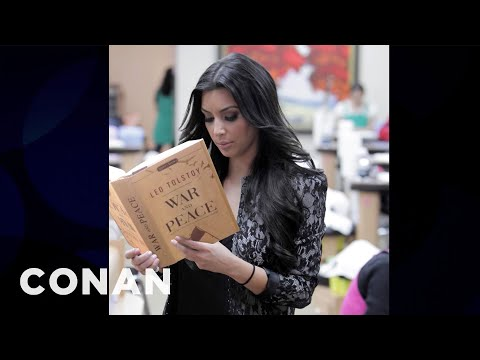 celeb - CONAN Highlight: What's even more scandalous than nude pics? A photo of Kim Kardashian reading for starters. More CONAN @ http://teamcoco.com/video Team Coco...