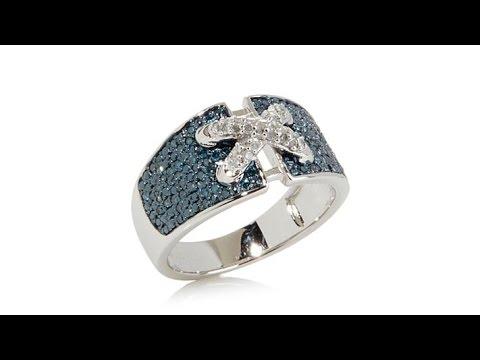 0.37ct Blue   White Diamond Cinched Corset Design Ring