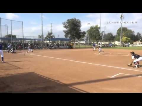 Bishop Amat's Julia Valenzuela beats out an infield single in the third inning Thursday vs. St. Paul
