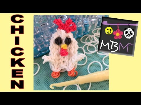 Chicken Charm / Mini Figurine Rainbow Loom Band Tutorial