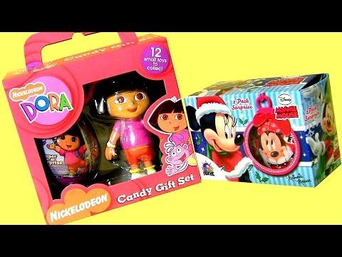 Dora Surprise Candy Boxes Christmas in July Disney Minnie Mouse Surprise Eggs & Dora the Explorer