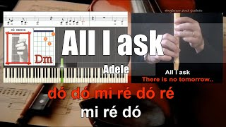 All I ask Adele Karaoke acordes para guitarra e notas para flauta e piano