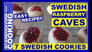 """In the 1800's, ladies in Sweden had coffee parties or in Swedish """"kafferep"""".  It was a must at the coffee parties to have a cookie plate of 7 or more """"småkakor"""" (little cookies) to serve the guests.  The Swedish Raspberry Cave Cookies """"Hallongrottor """" was one of the cookies to make.   The Raspberry Cave Cookies are still very popular in Sweden.  As well in the US these delicious Swedish Cookies are sometimes referred to Swedish Thumbprint Cookies.There are all sorts of Swedish Raspberry Cave cookie recipes to try. A typical Swedish Raspberry Cave Cookie has a vanilla flavor with a raspberry preserve center.   Typically the vanilla ingredient is either of vanilla sugar or ½ vanilla pod + 1 tsp sugar.  As well the preserve is many times made of raspberry or lingonberry too.Here our Raspberry Cave cookie recipe has 6 easy to find ingredients. It is a really fast and easy recipe to make.  I usually have the two sticks of butter out on the counter when I start making the recipe.  That way the butter is slightly soften and easier to work with when mixing it into the flour mixture.  As well I used vanilla extract because I happen to have this in my kitchen cabinet.  However vanilla sugar is very common to use too. In the future, we hope to make several other Swedish Raspberry Cave Cookie recipes with a variation of ingredients.  We hope you like this simple version! 😀 Swedish Raspberry Cave Cookie Recipe - Hallongrottor🍪 Ingredients 🍪 2 sticks (226 G) butter / smör 2 cups of flour /mjöl1 teaspoon of baking powder / bakpulver1/2 a cup of sugar / socker1 teaspoon of vanilla extract or vanilla sugar/ vaniljsockerraspberry preserves / hallonsyltInstruction:-Preheat oven at  400°F / 200 grader -Have 2 sticks of butter (which is the equivalent of 226 grams or 8 oz or 1 cup of butter) out on the counter so it softens up slightly and will be easier to work with.  -Mix flour, sugar, vanilla and baking powder together in a bowl. 🥄-Cut the 2 sticks of soften butter into chunks and ad"""