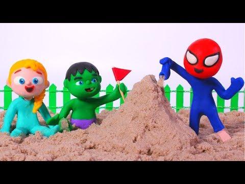 SUPERHERO BABIES PLAY WITH SAND  Spiderman, Hulk & Frozen Play Doh Cartoons For Kids