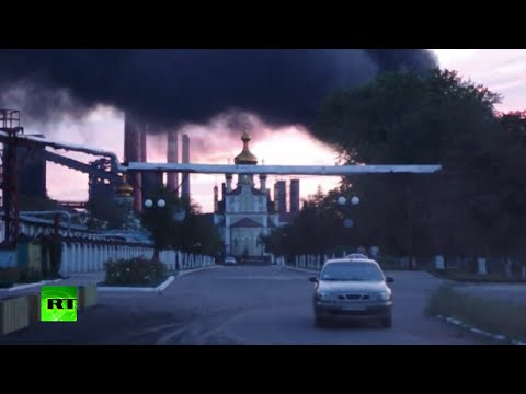 Fire and smoke, as heavy shelling hits outskirts of Donetsk
