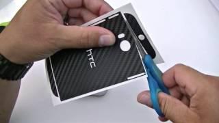 HTC ONE M8 SlickWrap Installation Carbon fiber Skin
