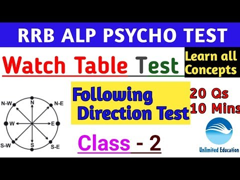 Watch Table Test | Class - 2 |with Explanation | Following Direction Test | Rrb Alp Psycho Test Cbt3