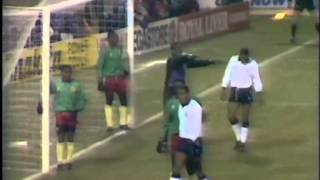 Gloves are the order of the night as Cameroon visit a freezing Wembley for a friendly in February 1991. The match is always going...