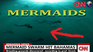 A giant Mermaid Swarm on it's way to their breeding grounds, looking for a partner to mate, as seen on National Television.  Watch this amazing real footage in 4K. A mermaid is a legendary aquatic creature with the head and upper body of a female human and the tail of a fish.[1] Mermaids appear in the folklore of many cultures worldwide, including the Near East, Europe, Africa and Asia. The first stories appeared in ancient Assyria, in which the goddess Atargatis transformed herself into a mermaid out of shame for accidentally killing her human lover. Mermaids are sometimes associated with perilous events such as floods, storms, shipwrecks and drownings. In other folk traditions (or sometimes within the same tradition), they can be benevolent or beneficent, bestowing boons or falling in love with humans.Some of the attributes of mermaids may have been influenced by the Sirens of Greek mythology. Historical accounts of mermaids, such as those reported by Christopher Columbus during his exploration of the Caribbean, may have been inspired by manatees and similar aquatic mammals. While there is no evidence that mermaids exist outside of folklore, reports of mermaid sightings continue to the present day, with recent examples from Canada, Israel, and Zimbabwe. https://en.wikipedia.org/wiki/Mermaid Music: Frozen Star by Kevin MacLeod www.incompetech.com