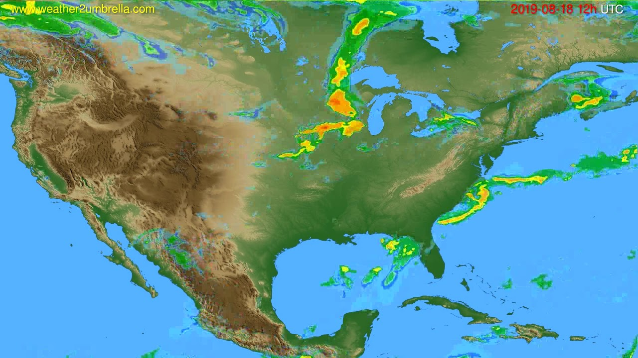 Radar forecast USA & Canada // modelrun: 00h UTC 2019-08-18