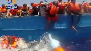 Libya Migrants Rescued by Italy Marine Team  at Sea ...