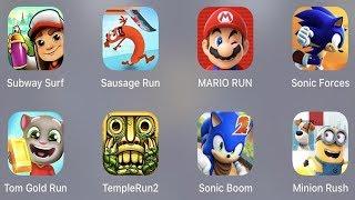 Subway Surfer,Sausage Run,Mario Run,Sonic Forces,Tom Gold Run,Temple Run 2,Sonic Boom 2,Minion Rush