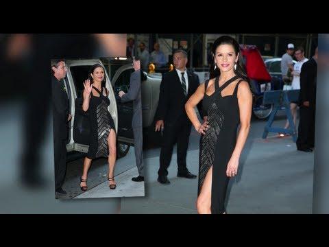 Catherine Zeta Jones Risks Wardrobe Malfunction in Split Dress