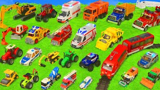 Fire Truck, Tractor, Train, Police Cars, Garbage Trucks & Excavator Toy Vehicles for Kids