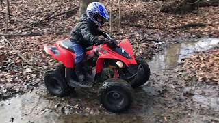 7. can-am kids riding a ds-90 and outlander max 1000