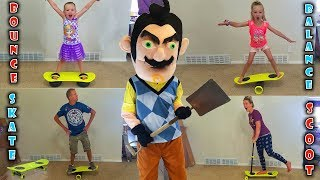 Hello Neighbor in Real Life! Comes to My House and Steals Our MorfBoards! We Challenge him!!!
