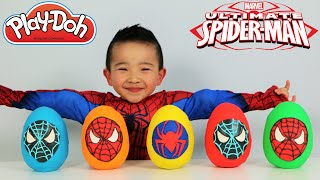 Ultimate Spiderman Play-Doh Surprise Eggs Opening Fun With Ckn Toys