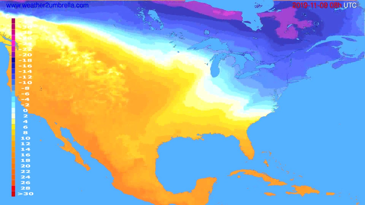 Temperature forecast USA & Canada // modelrun: 00h UTC 2019-11-08