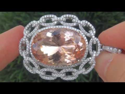 Natural Morganite & Diamond Pendant Necklace   C852