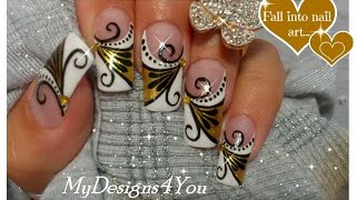 Gold Nail Art Tutorial | Design For Long Diva Nails | French Tip♥