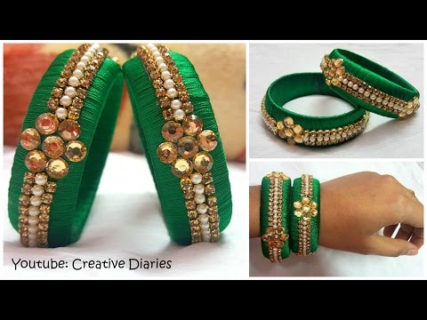 Video How to make Latest Designer Silk thread bangles at home I Party wear bangles I Creative Diaries download in MP3, 3GP, MP4, WEBM, AVI, FLV January 2017