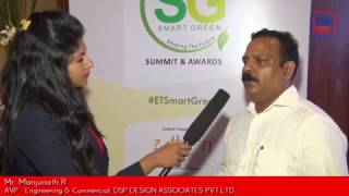 Mr. Manjunath R, AVP – Engineering & Commercial – DSP Design Associates Pvt. Ltd., talks about the 'Smart Cities' initiative and how it's a collective responsibility of Architect fraternity to implement sustainable developments – at Smart Green Summit and Awards, 2016