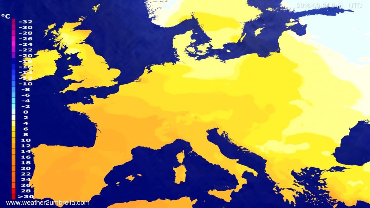Temperature forecast Europe 2016-09-20