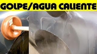 Experimento para ver si se puede sacar un golpe en el auto usando agua caliente y otras herramientas caseras mostrando el resultado que no fue positivo.