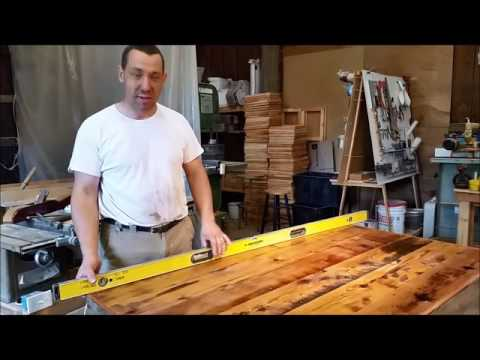 How to flatten large wood surface/ Repurposed Engine Table