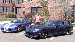 GO READ MY COLUMN HERE! http://autotradr.co/OversteerHere's a look at the differences between my old 1997 Dodge Viper GTS and a brand-new 2016 Dodge Viper ACR. I also drove the Viper ACR and reviewed it.FOLLOW ME!Facebook - http://www.facebook.com/ddemuroTwitter - http://www.twitter.com/dougdemuroInstagram - http://www.instagram.com/dougdemuro
