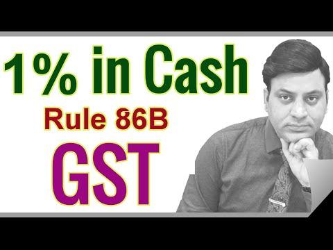 GST: 1% GST in Cash: ITC upto 99%: Rule 86B I CA I CMA I CS I Tax Professionals