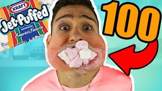 i can fit 100 marshmallows in my mouth!