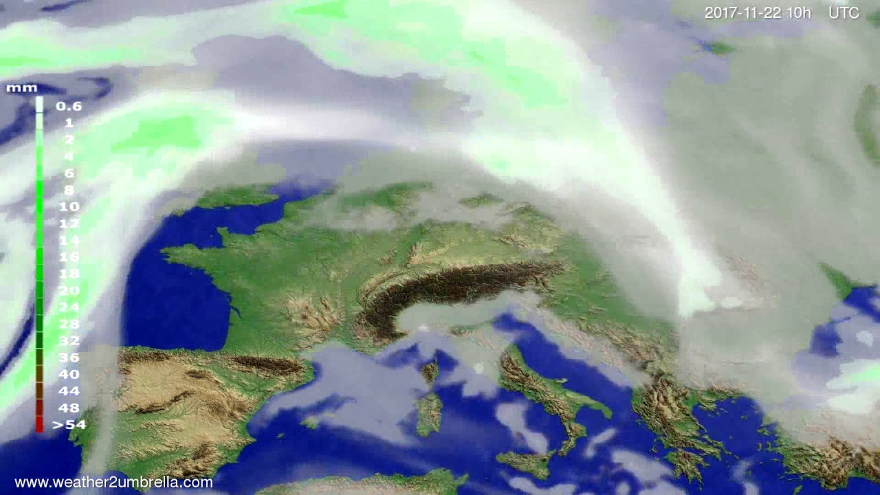 Precipitation forecast Europe 2017-11-20