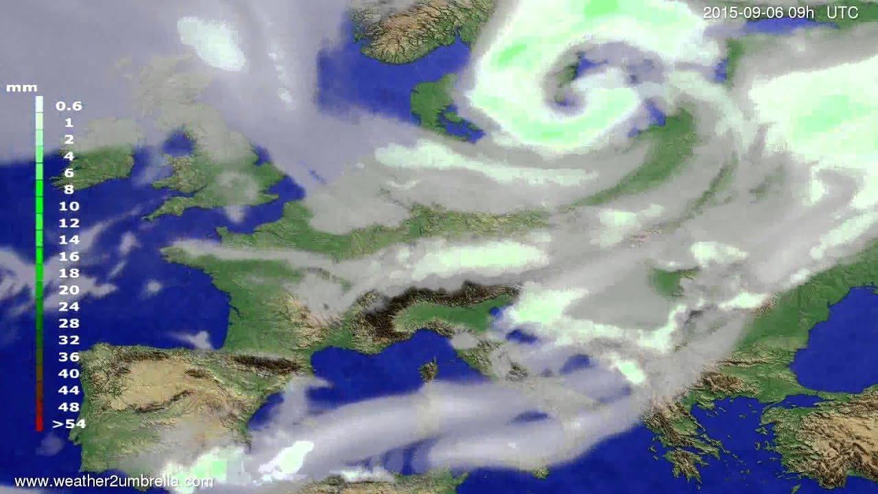 Precipitation forecast Europe 2015-09-02