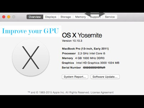 , title : 'How to improve MacBook Pro Early 2011 intel HD 3000 video card on Yosemite'