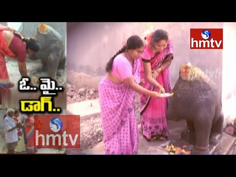 Mortha Village People Prayers To Dog Statue | Undrajavaram | Telugu News | hmtv