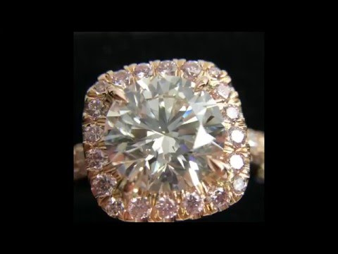 2.05 ct Round Diamond Halo Engagement Ring in Rose Gold