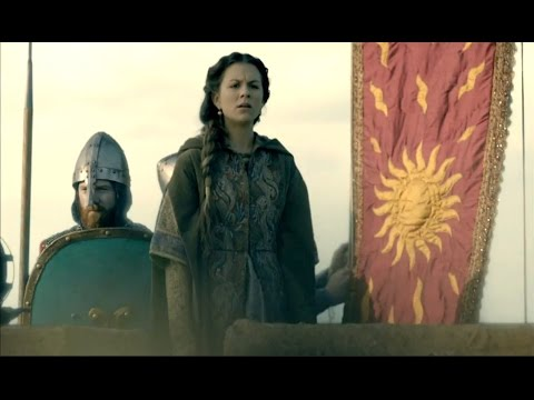 The Oriflamme - Vikings season 3 episode 8 Princess Gisla on the walls of Paris