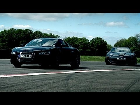 Corvette - Jeremy Clarkson reviews the Audi R8, with it's 5.2 litre Lamborghini V10, 518 break horse power and capable of 0-60mph in 3.6 seconds, it's a bit of a beast....